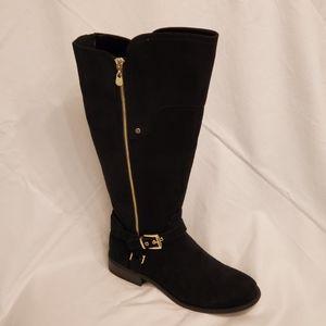Guess Harson boots, 9 black gold wide calf NWT NWB